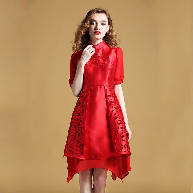 Delightful Modern Qipao Cheongsam Style Dress - Red