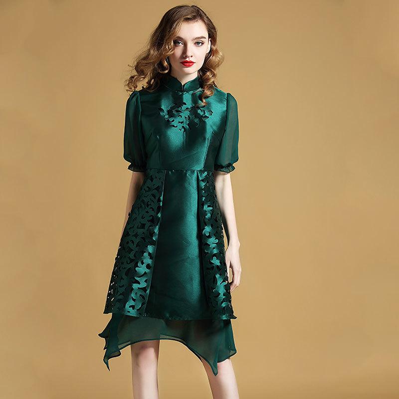 Delightful Modern Qipao Cheongsam Style Dress - Green