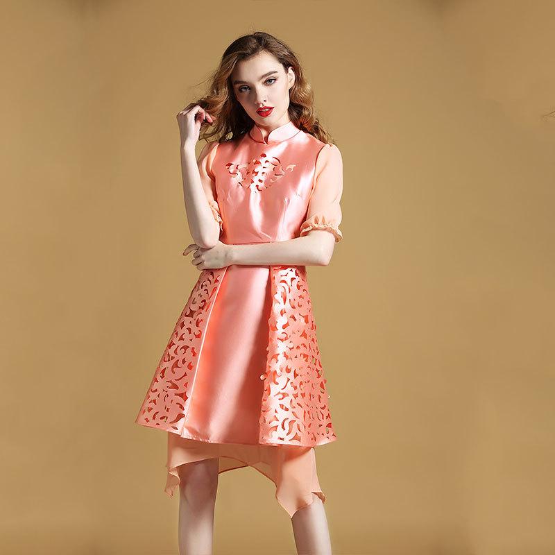 Delightful Modern Qipao Cheongsam Style Dress - Pink