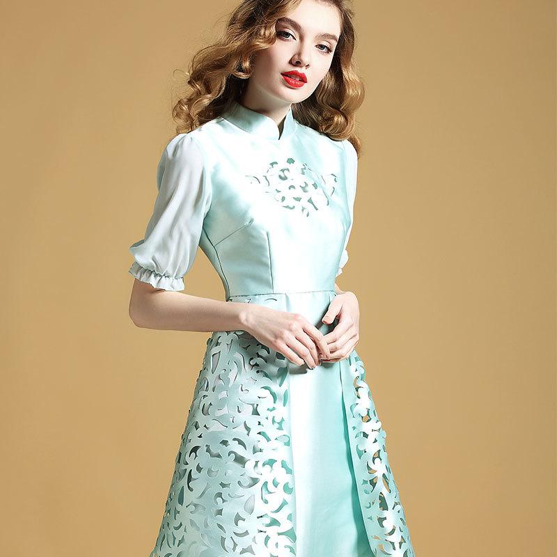Delightful Modern Qipao Cheongsam Style Dress - Blue
