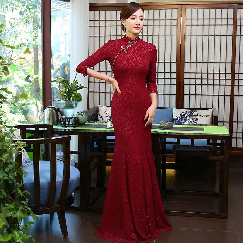 Gorgeous Velvet Cheongsam Qipao Fishtail Dress - Claret