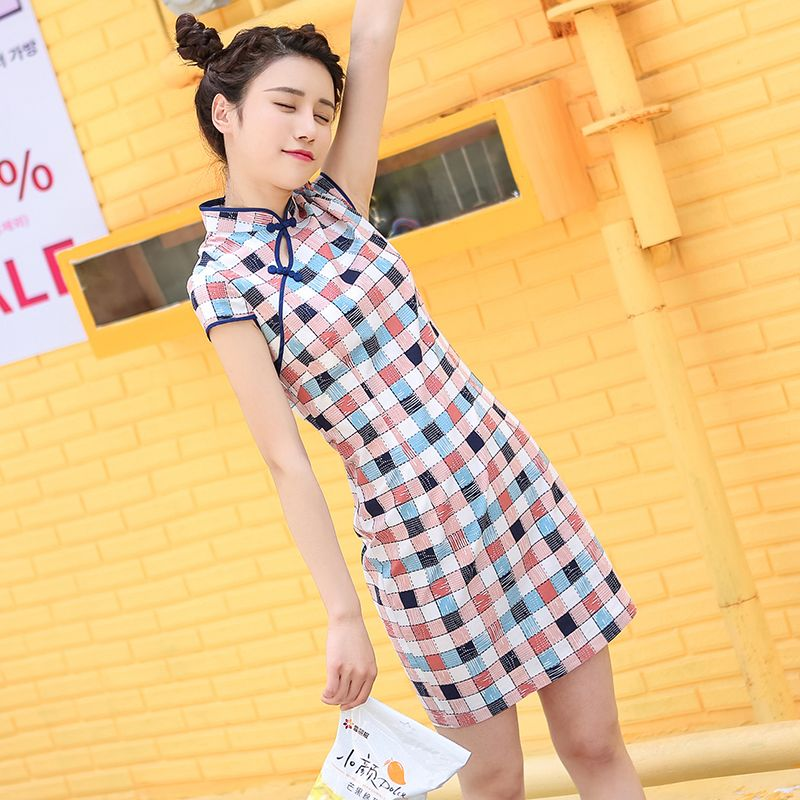 Charming Plaid Short Chinese Dress Qipao Cheongsam