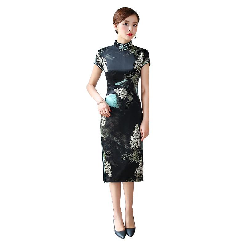 Fetching Print Silk Qipao Cheongsam Chinese Dress