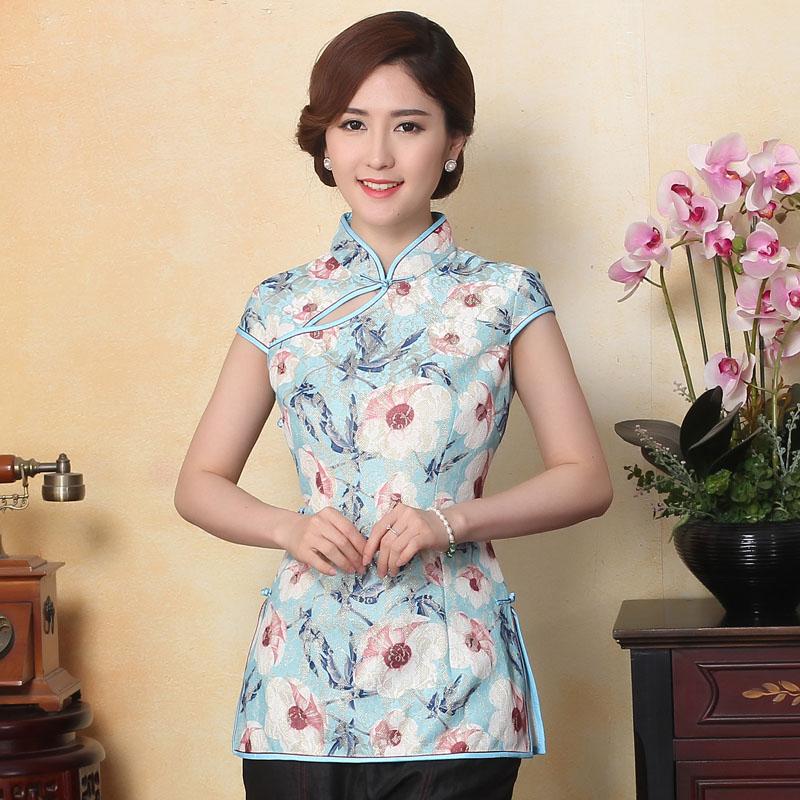 Enchanting Lace Frog Button Qipao Cheongsam Shirt - Blue