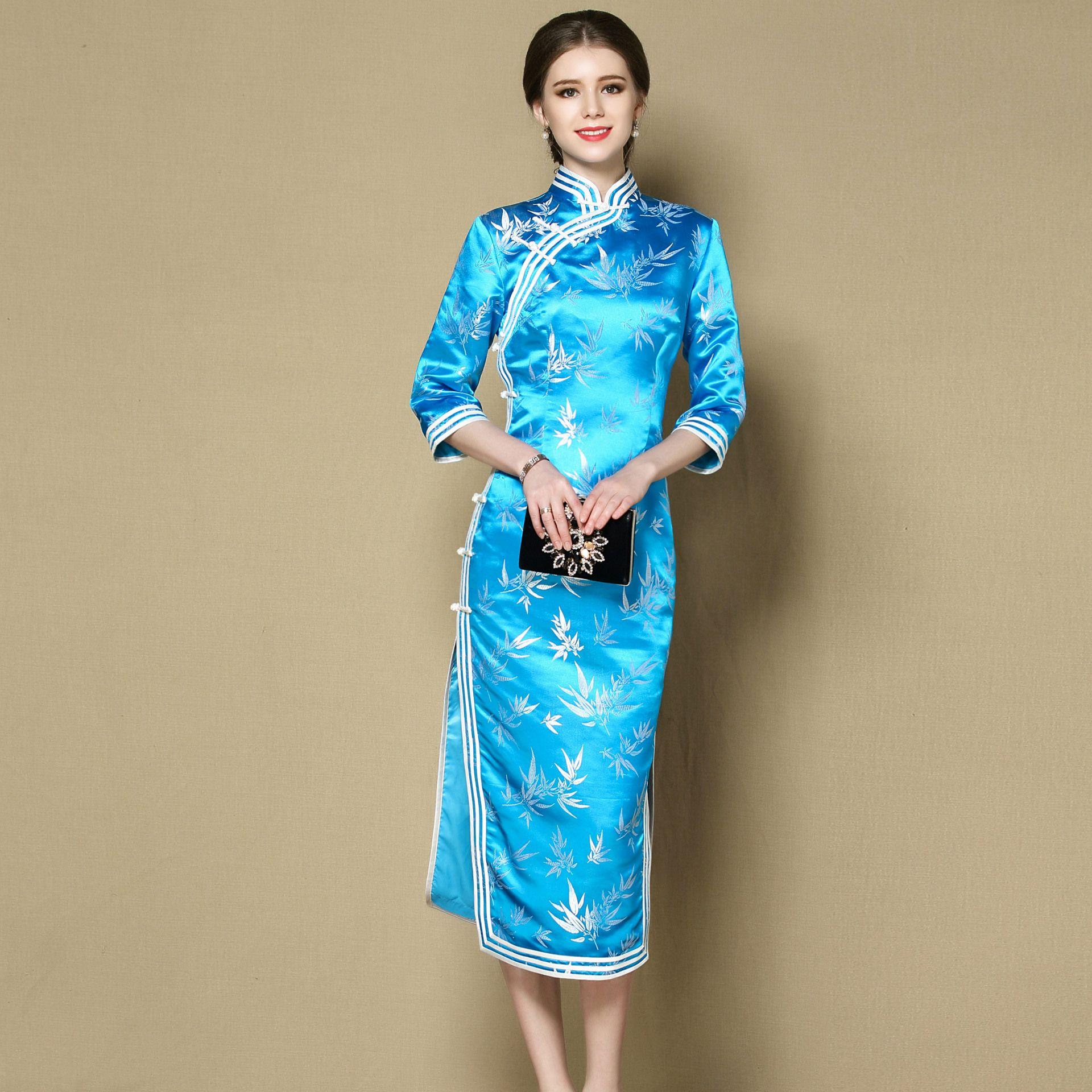 Enchanting Blue Brocade Qipao Cheongsam Dress