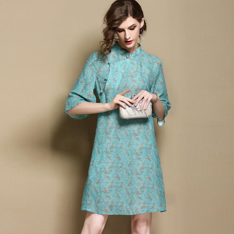 Charming Floral Print Ramie A-line Qipao Cheongsam Dress