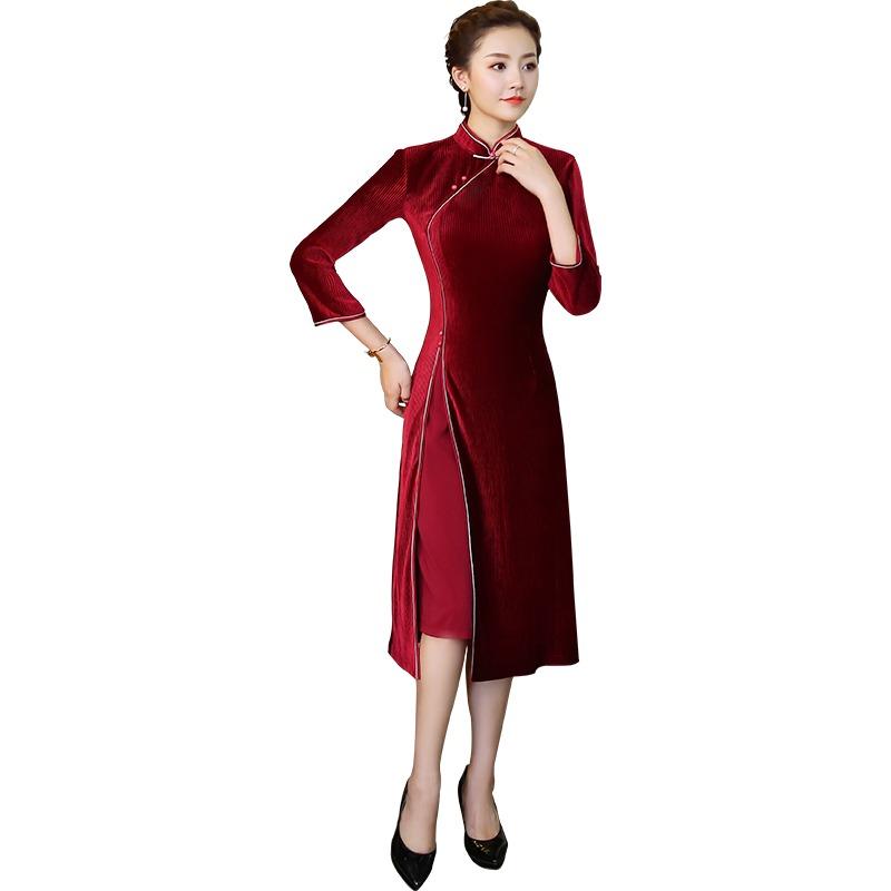 Lovely Red Striped Velvet Cheongsam Qipao Chinese Dress