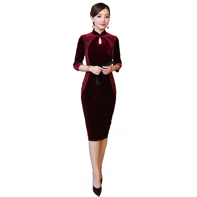 Wonderful Qipao Cheongsam Chinese Dress Claret Velvet