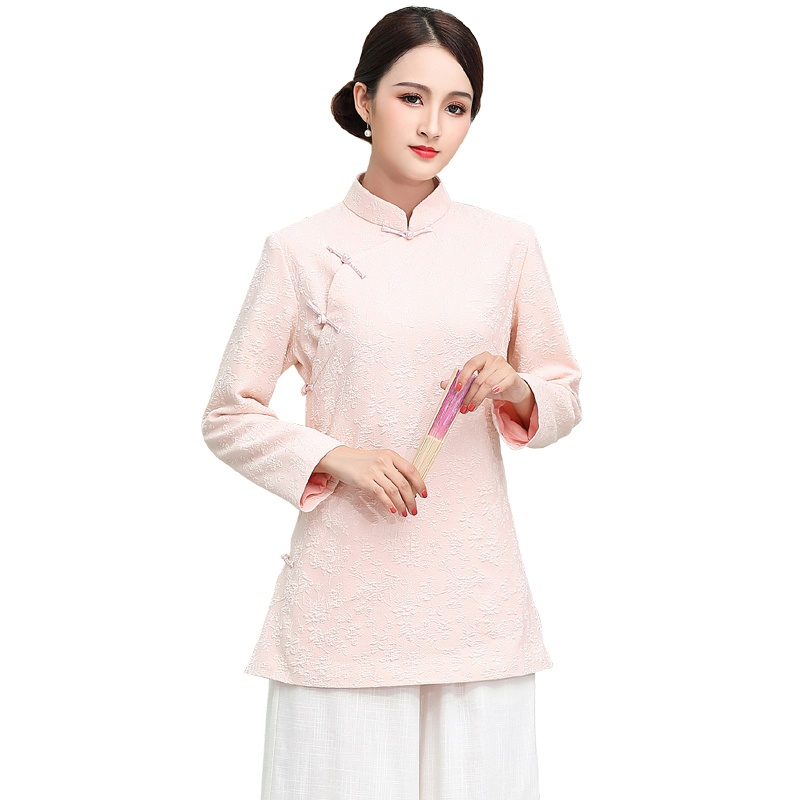 Charming Cotton Flax Cheongsam Qipao Jacket - Pink