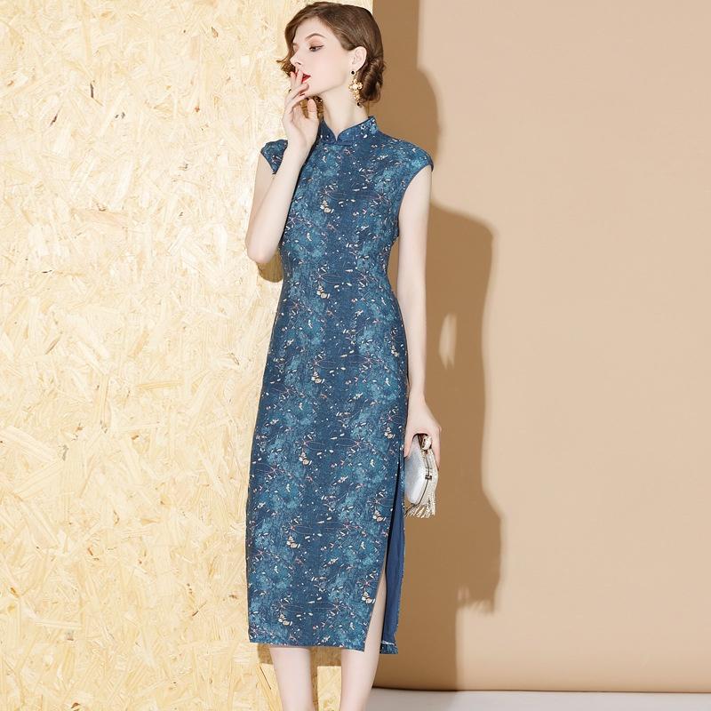 Pretty Print Sleeveless Ramie Cheongsam Qipao Dress