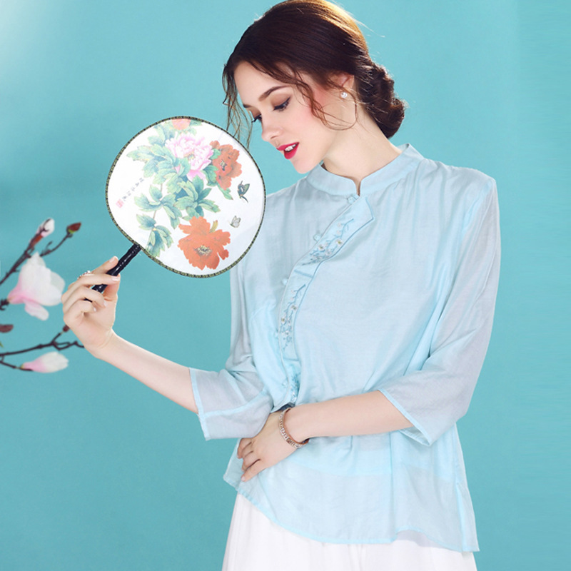Lovable Cotton Blend Chinese Qipao Cheongsam Shirt - Blue