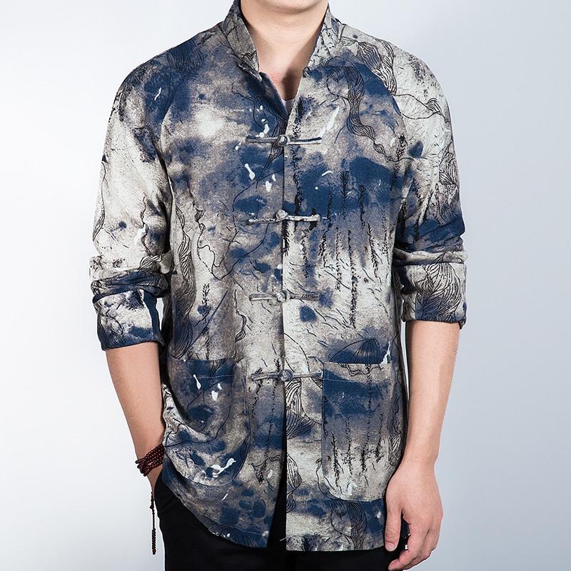 Gorgeous Ink Print Frog Button Mandarin Shirt - Gray