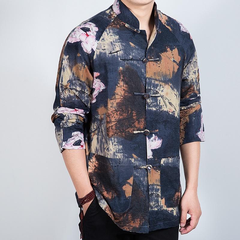 Gorgeous Ink Print Frog Button Mandarin Shirt - Brown