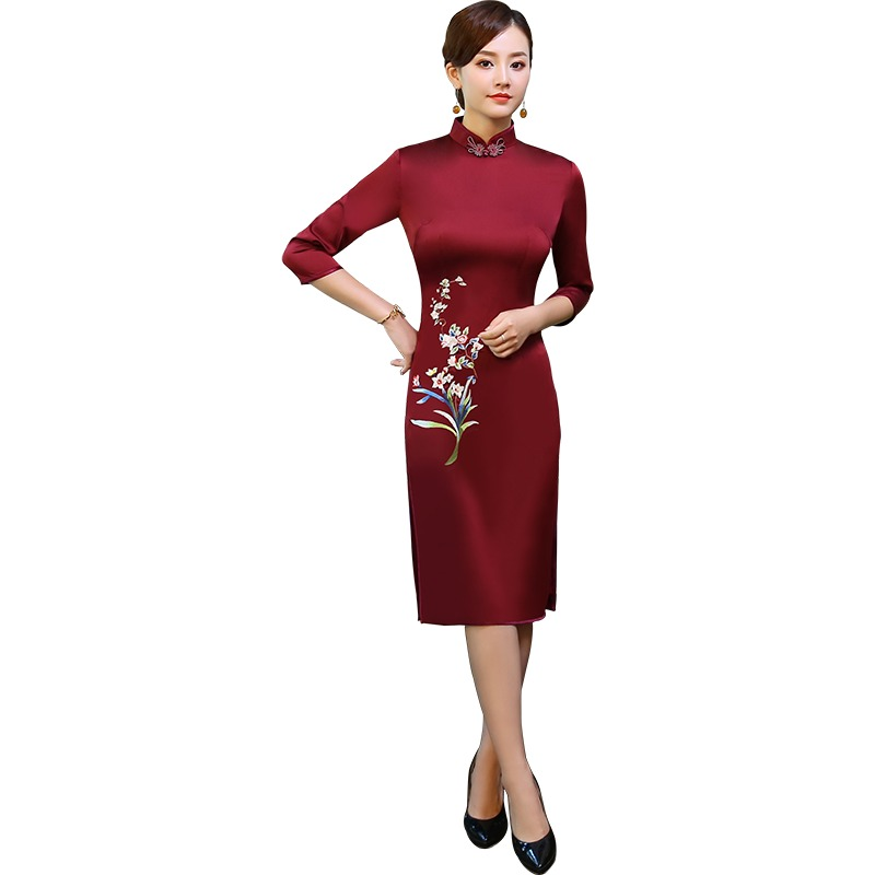 Delightful Embroidery Claret Qipao Cheongsam Dress