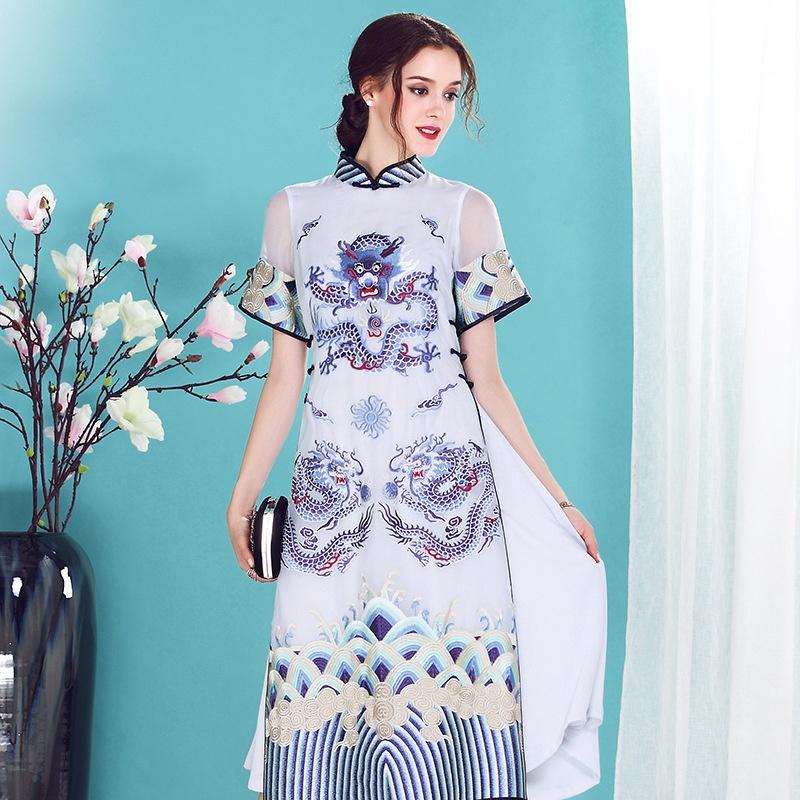 Spectacular Embroidery Silk Qipao Cheongsam Dress