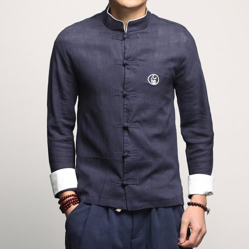 Handsome Linen Frog Button Chinese Shirt - Dark Blue