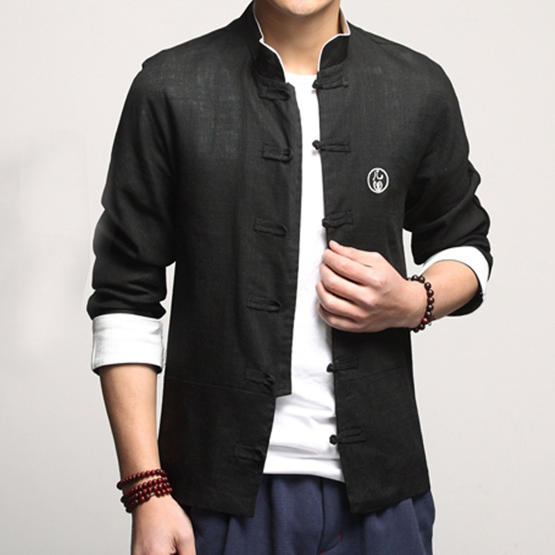 Handsome Linen Frog Button Chinese Shirt - Black