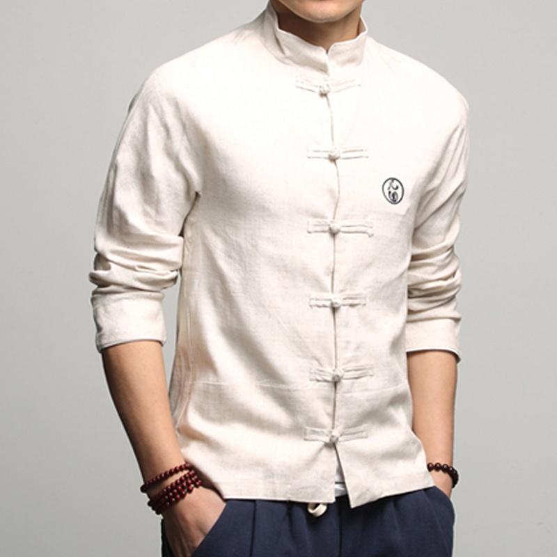 Handsome Linen Frog Button Chinese Shirt - Beige