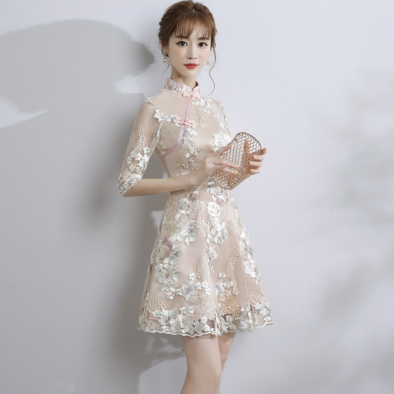Appealing Lace A-line Dress Qipao Cheongsam - Brown