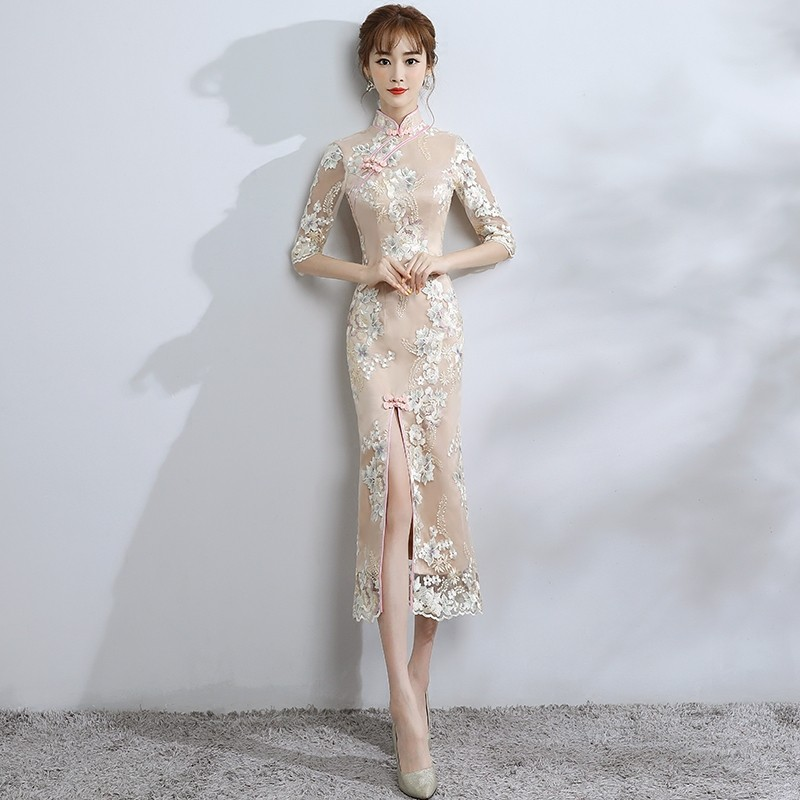 Enchanting Lace Mid-calf Chinese Dress Qipao Cheongsam