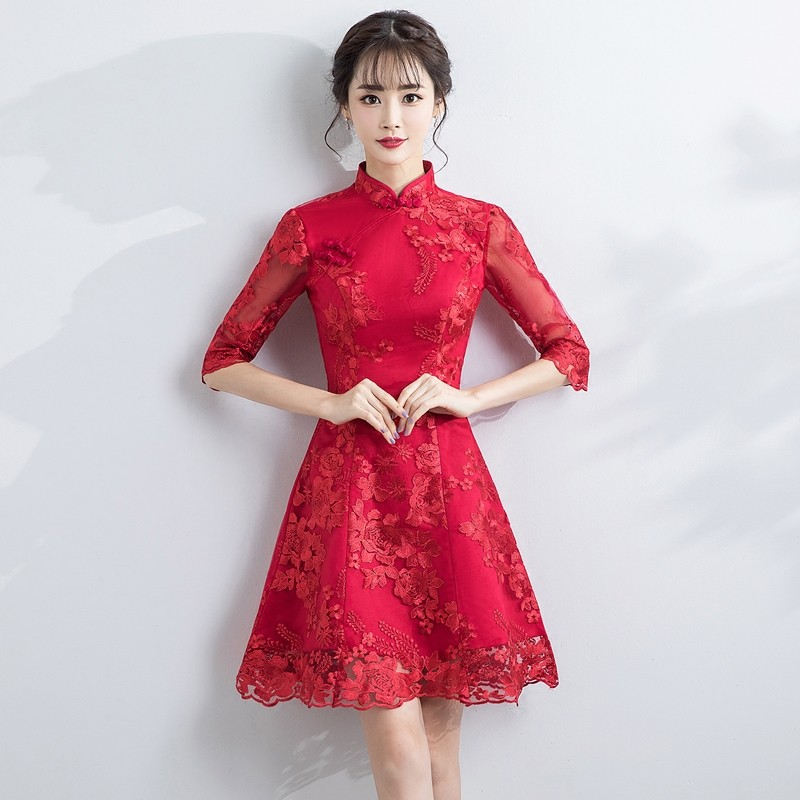 Appealing Lace A-line Dress Qipao Cheongsam - Red