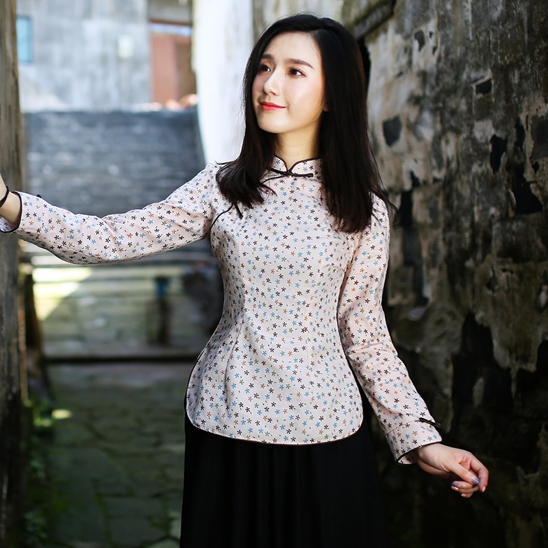 Attractive Print Linen Back Zip Cheongsam Qipao Shirt