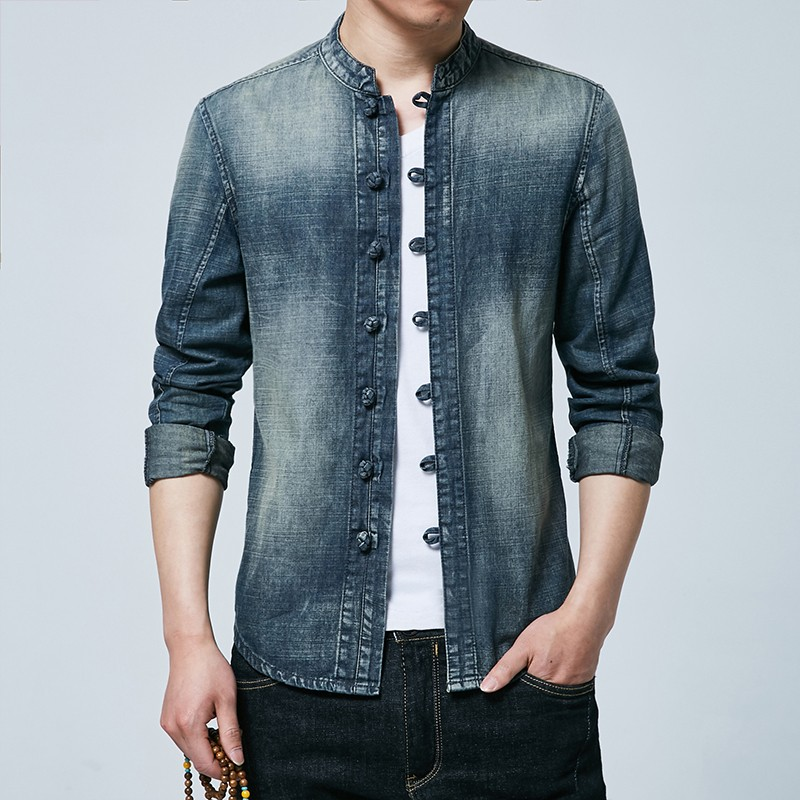 Excellent Mandarin Collar Frog Button Denim Shirt