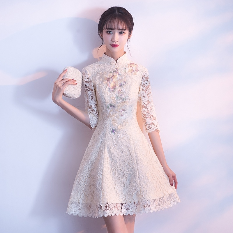 Modern Lace A-line Qipao Cheongsam Chinese Dress