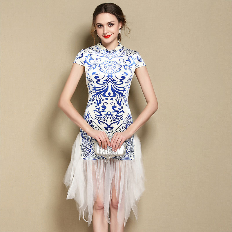 Lovable Totem Print Modern Qipao Cheongsam Dress - Blue