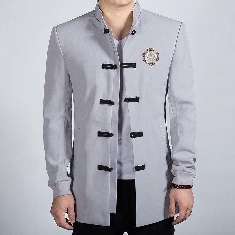 Attractive Embroidery Frog Button Chinese Jacket - Gray
