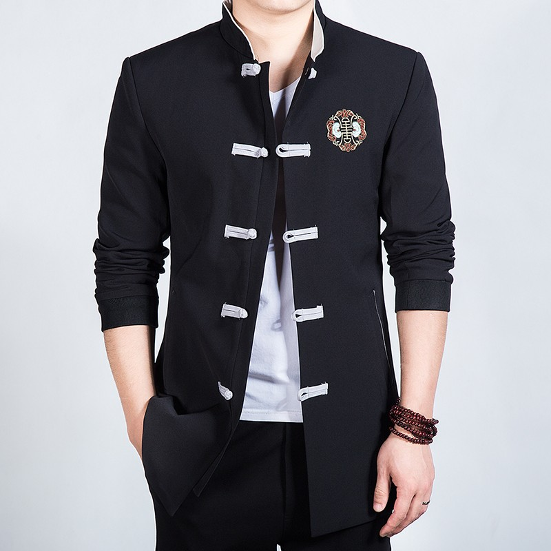 Attractive Embroidery Frog Button Chinese Jacket - Black