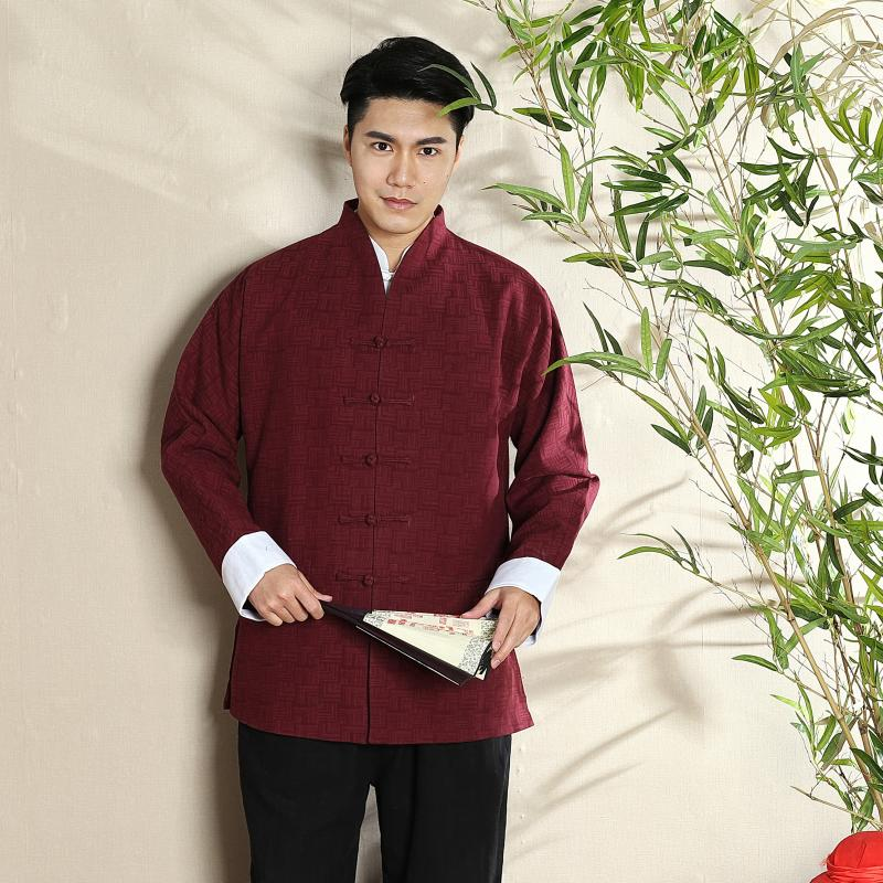 Claret Frog Button Open Neck Chinese Tang Jacket
