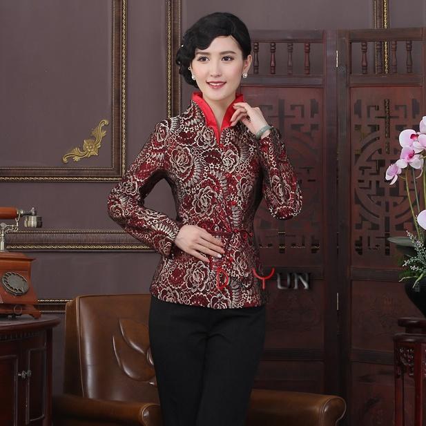 Mandarin Collar Open Neck Jacquard Chinese Jacket - Claret