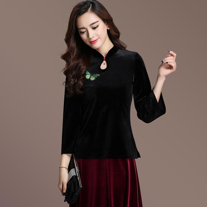 Charming Velvet Qipao Cheongsam Chinese Shirt - Black