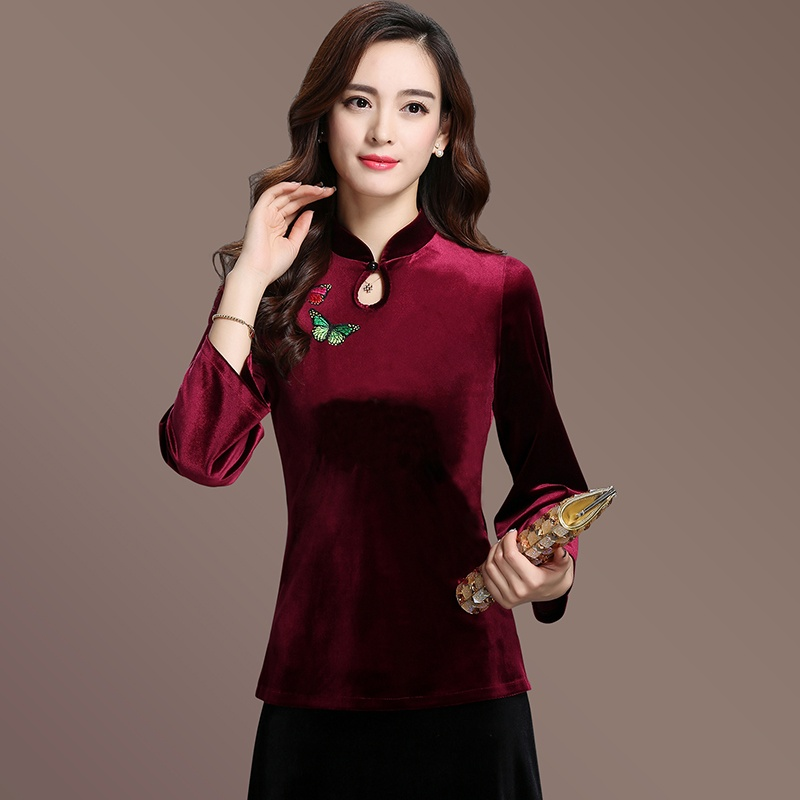 Charming Velvet Qipao Cheongsam Chinese Shirt - Red