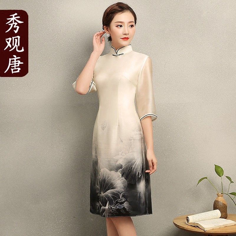 Fascinating Lotus Print Silk Qipao Cheongsam Dress