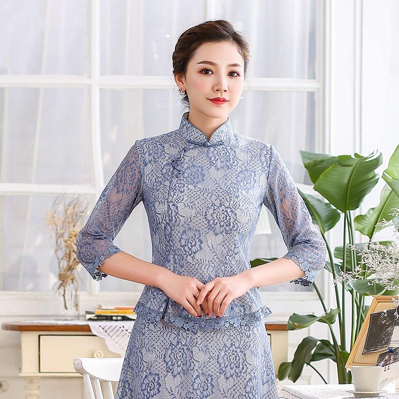 Pretty 3/4 Sleeve Floral Lace Qipao Cheongsam Shirt