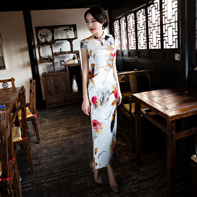 Awesome Rose Flowers Silk Cheongsam Qipao Chinese Dress