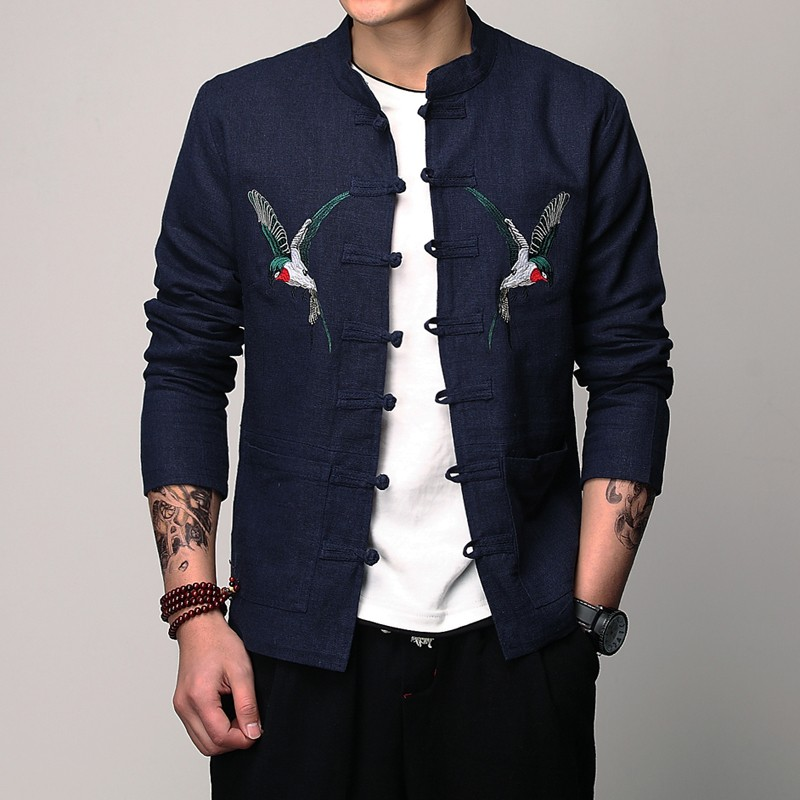 Amazing Double Eagles Embroidery Tang Jacket - Blue