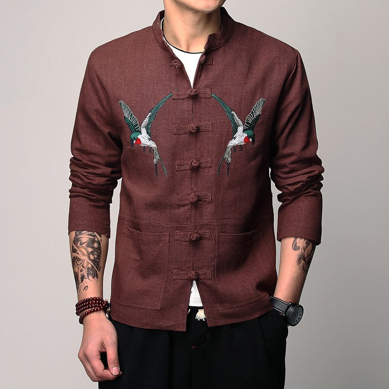Amazing Double Eagles Embroidery Tang Jacket - Brown