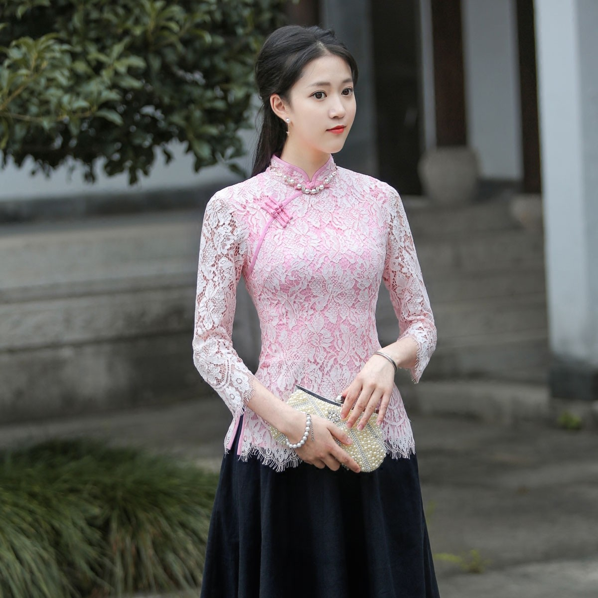 Excellent Lace Qipao Cheongsam Chinese Shirt