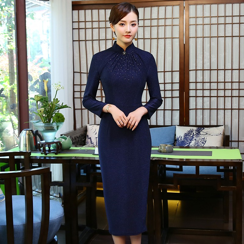 Winsome Blue Mid-calf Qipao Cheongsam Style Dress