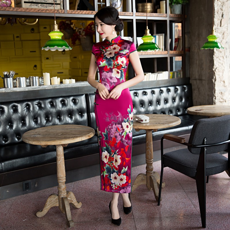 Splendid Print Silk Qipao Cheongsam Chinese Dress