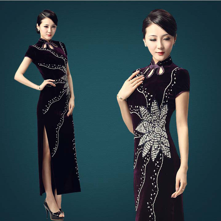 Radiating Flame Velvet Long Cheongsam - Purple