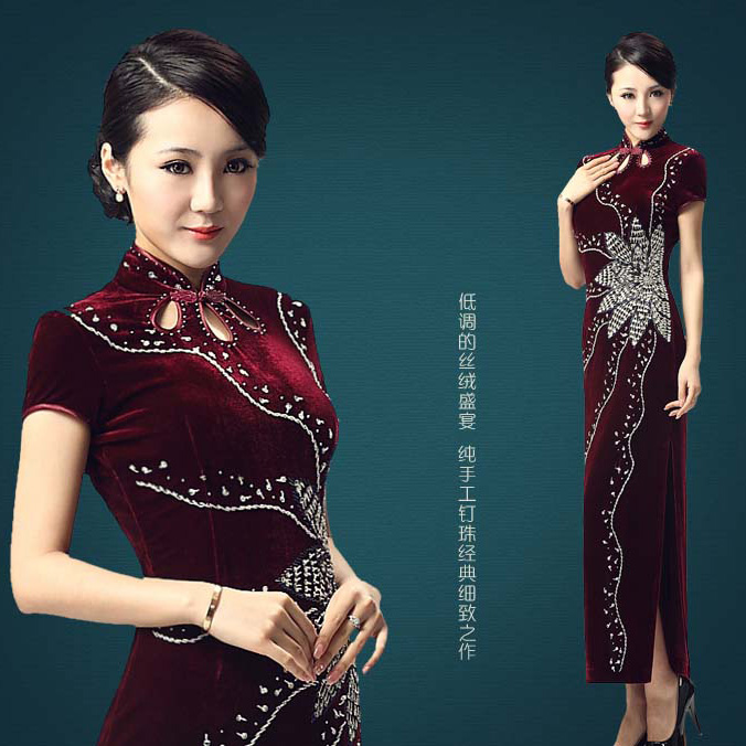 Radiating Flame Velvet Long Cheongsam - Dark Red