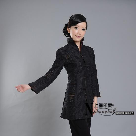 Mandarin Style Elegant Black Long Jacket