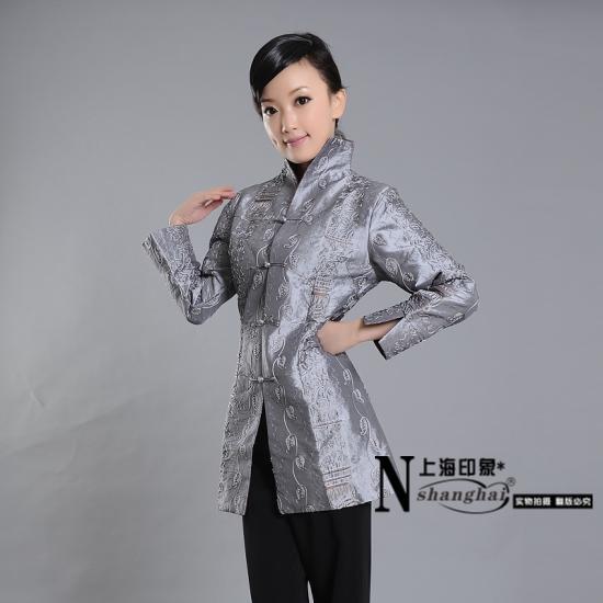 Mandarin Style Elegant Silver Long Jacket