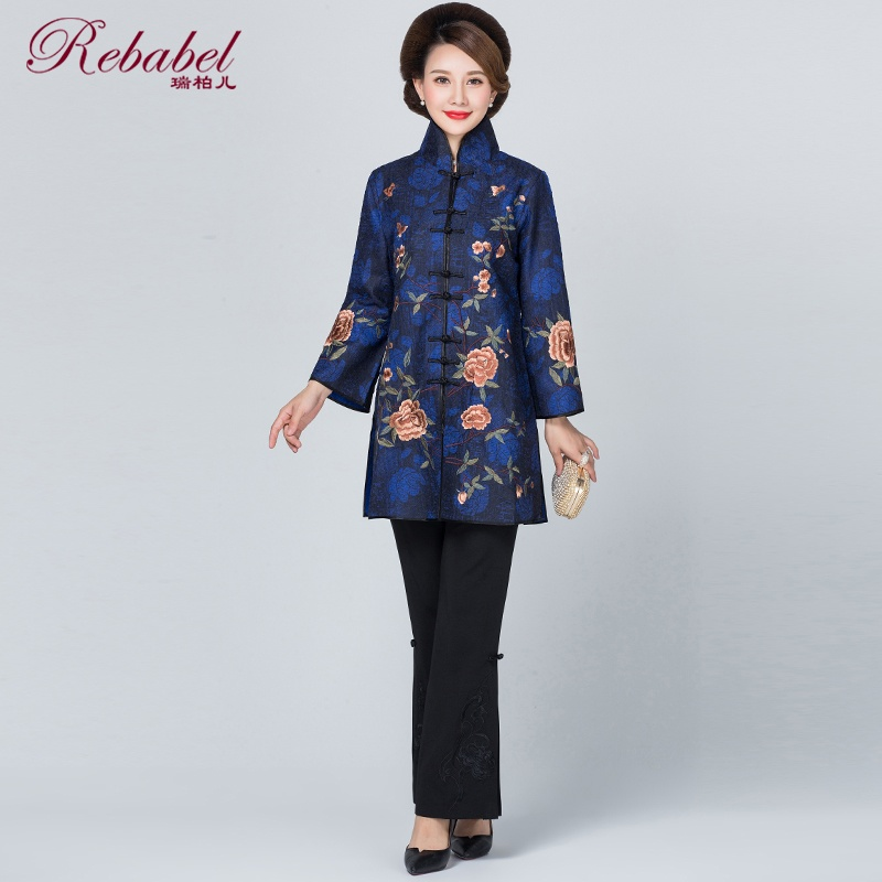 Gorgeous Roses Embroidery Chinese Style Jacket - Blue
