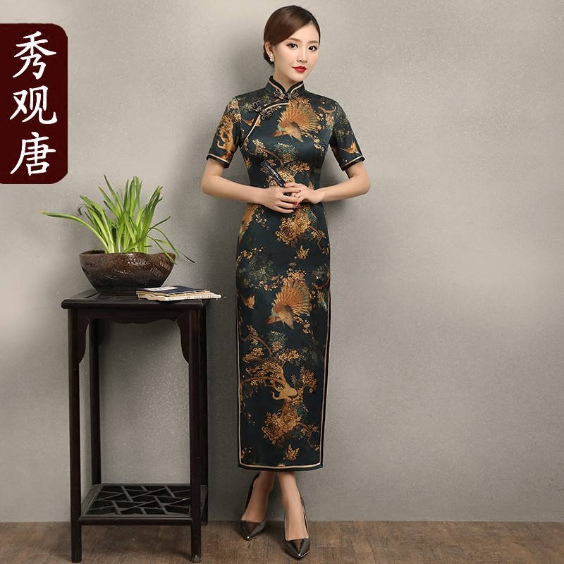 Amazing Peacock Print Long Silk Cheongsam Qipao Dress