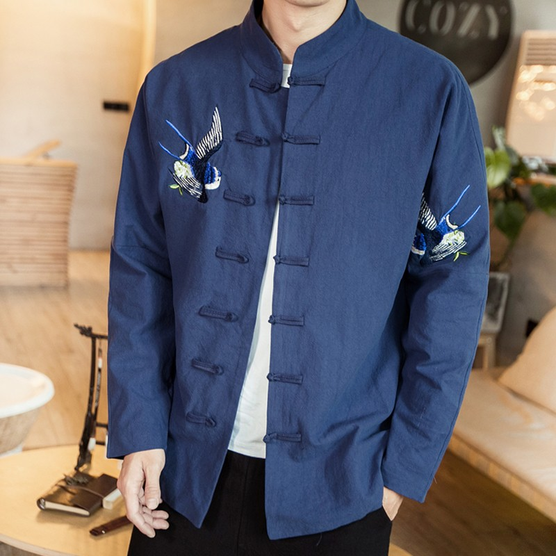 Double Swallows Embroidery Frog Button Jacket - Navy